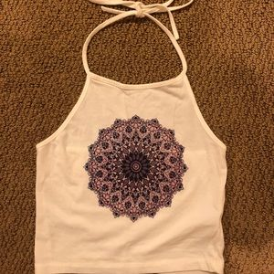white halter top with design